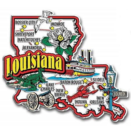 (Louisiana Jumbo State Map Fridge Magnet)