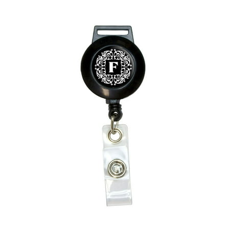 Letter F Initial Black and White Scrolls Retractable Badge Card ID Holder