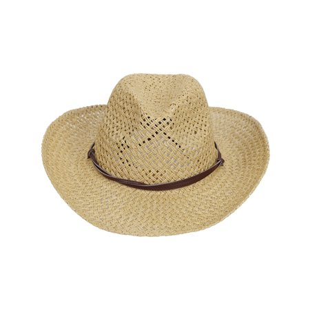 c2f2914a145 Simplicity - Straw Cowboy Hat Men   Women s Summer Cap w  PU Leather Band    Chin Strap