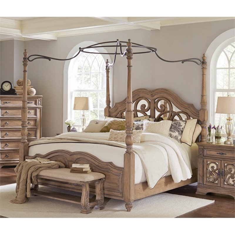coaster ilana king mirrored canopy bed in cream walmart com 12428 | 87f512fb c81c 40fa b539 f94404594b46 1 d4df19ed1913eecf7107106508b1821c