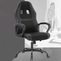 Racing Style Ergonomic Gaming Chair With Lumbar Support, Black