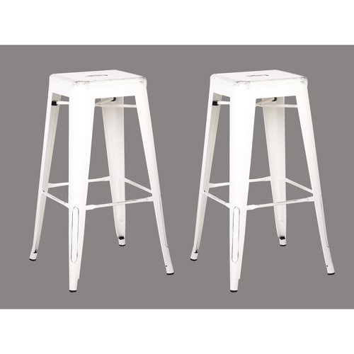 AC Pacific Backless Distressed Metal Barstool, White 30 -inch, Set of 2