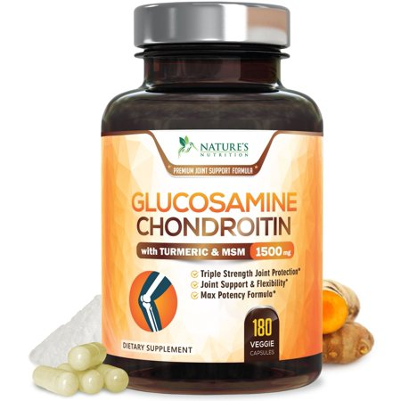 Glucosamine Chondroitin Turmeric MSM. Max Potency 1500mg - Glucosamine Sulfate Complex Supplement for Joint Pain Relief & Support - Anti-Inflammatory Pills for Back, Knees, Hip & Hands - 180