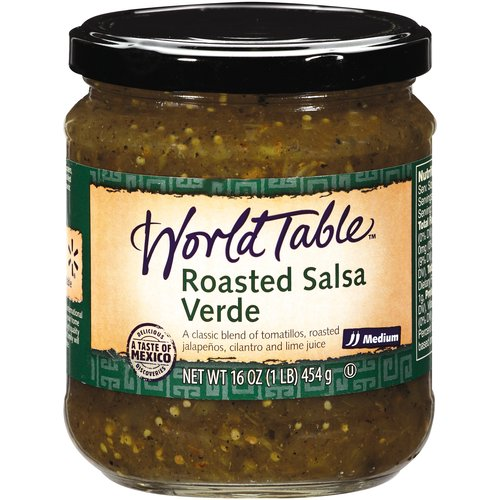 World Table Roasted Green Medium Salsa, 16 oz