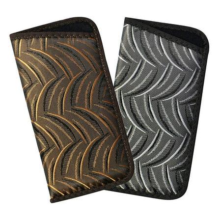 (2 Pack Soft Eyeglass Case For Men And Women, Slim Slip In Glasses Holder With Crescent Design, Dark Brown & Gray)