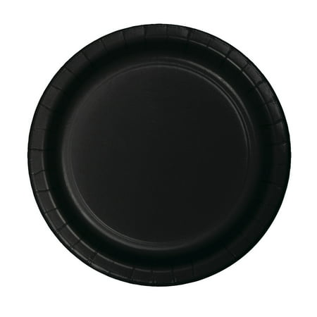 7 inch Roung Solid Paper Luncheon Plate Black Velvet,Pack of 24 EA Christmas Paper Luncheon Plates