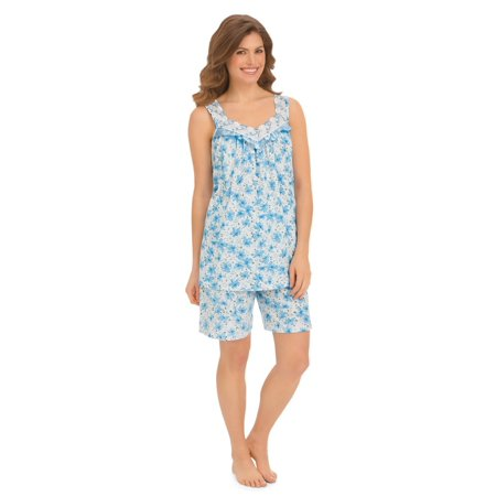 Women's Sleeveless Floral Pajama Top And Shorts Set, Large, Blue Flowers