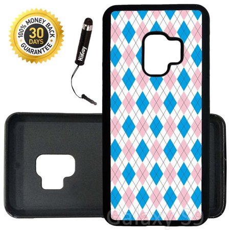 Custom Galaxy S9 Case (Blue Pink Argyle Pattern) Edge-to-Edge Rubber Black Cover Ultra Slim   Lightweight   Includes Stylus Pen by -