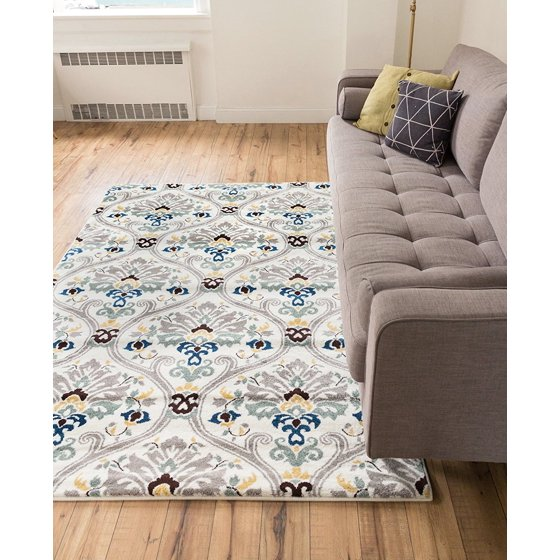 Floral Area Rug 5x7 53 X 73 Modern Oriental Geometric Soft Pile Contemporary Carpet Thick Plush Stain Fade Resistant Bedroom Living Dining Room