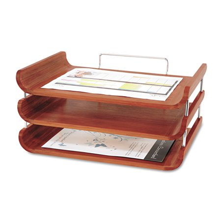 Safco desk tray three tiers bamboo letter cherry for Bamboo letter tray