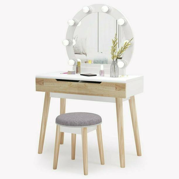 Vanity Table Set With Lighted Mirror, Vanity Table Set With Lighted Mirror Stool