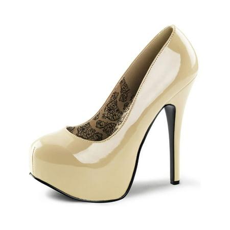 5ccc82c98 SummitFashions - Womens Casual Dress Shoes Cream Pumps Patent Platform  Round Toe 5 3/4 Inch Heel - Walmart.com