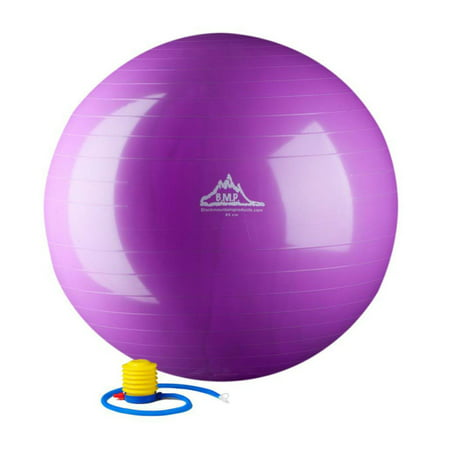 Black Mountain Products 2000 lbs Static Strength Exercise Stability Ball with Pump, 85cm Purple