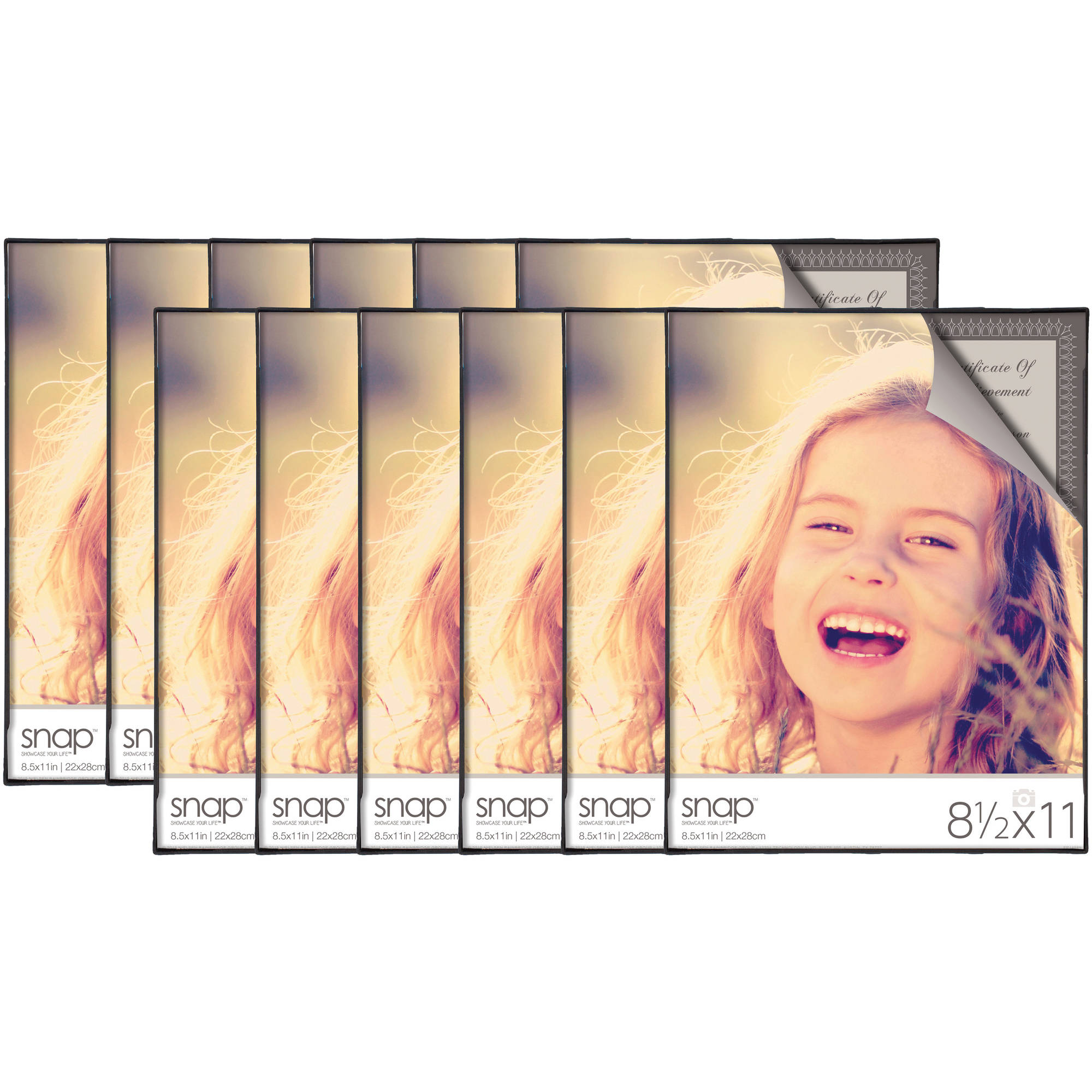 Snap 8.5x11 Front Loading Document Frame, Set of 12