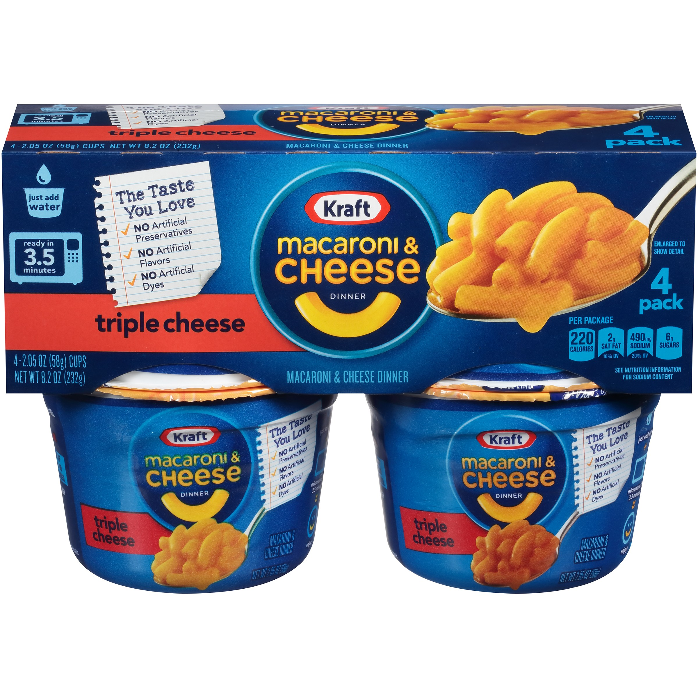 Kraft Triple Cheese Macaroni & Cheese Dinner 4-2 oz. Microcups