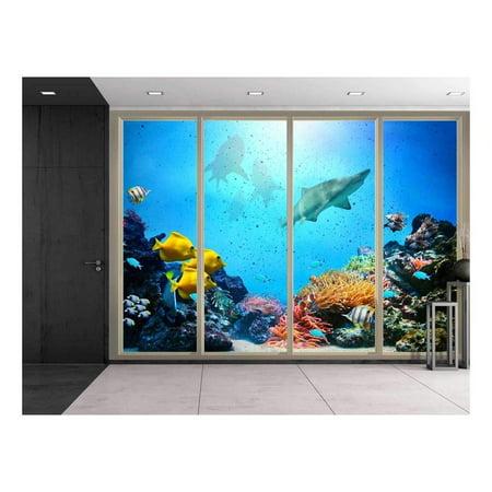 Wall26 - Large Wall Mural - Under the Deep Ocean Seen Through Sliding Glass Doors   3D Visual Effect Self-adhesive Vinyl Wallpaper / Removable Modern Decorating Wall Art - (The Best Wallpaper Ever Seen)