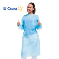 Medint Disposable Blue Isolation Gown - First Aid, Medical, Dental Duty Gowns - Fluid Resistant Clothing for Doctors, Nurse, Adults, Men, Women - No Latex Lab and Hospital Supplies