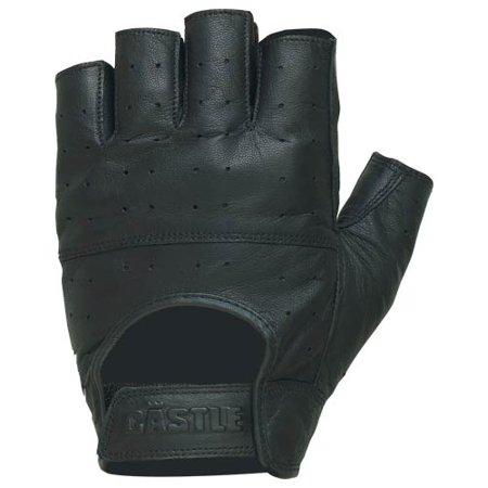 Castle Streetwear Gel Fingerless Leather Gloves Black