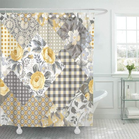 PKNMT Colorful Vintage Patchwork Floral Pattern with Yellow Roses White Check Victorian Bathroom Shower Curtain 66x72 inch