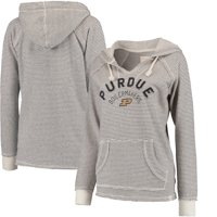 Purdue Boilermakers Blue 84 Women's Striped French Terry V-Neck Hoodie - Cream