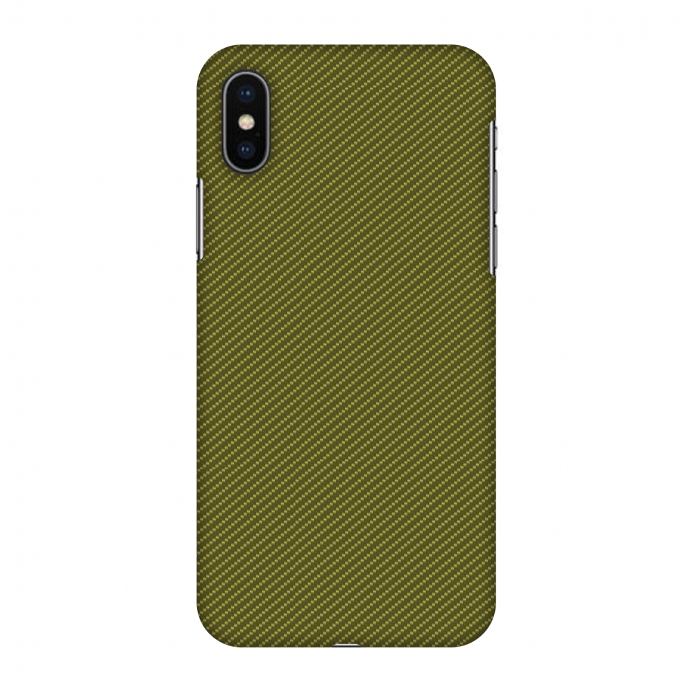 iPhone X Case, Premium Handcrafted Designer Hard Snap on Shell Case ShockProof Back Cover with Screen Cleaning Kit for iPhone X - Golden Lime Texture