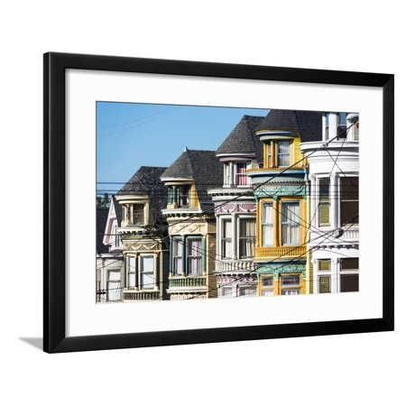 North America, USA, America, California, San Francisco. colurful house in Height & Ashbury Framed Print Wall Art By Jordan