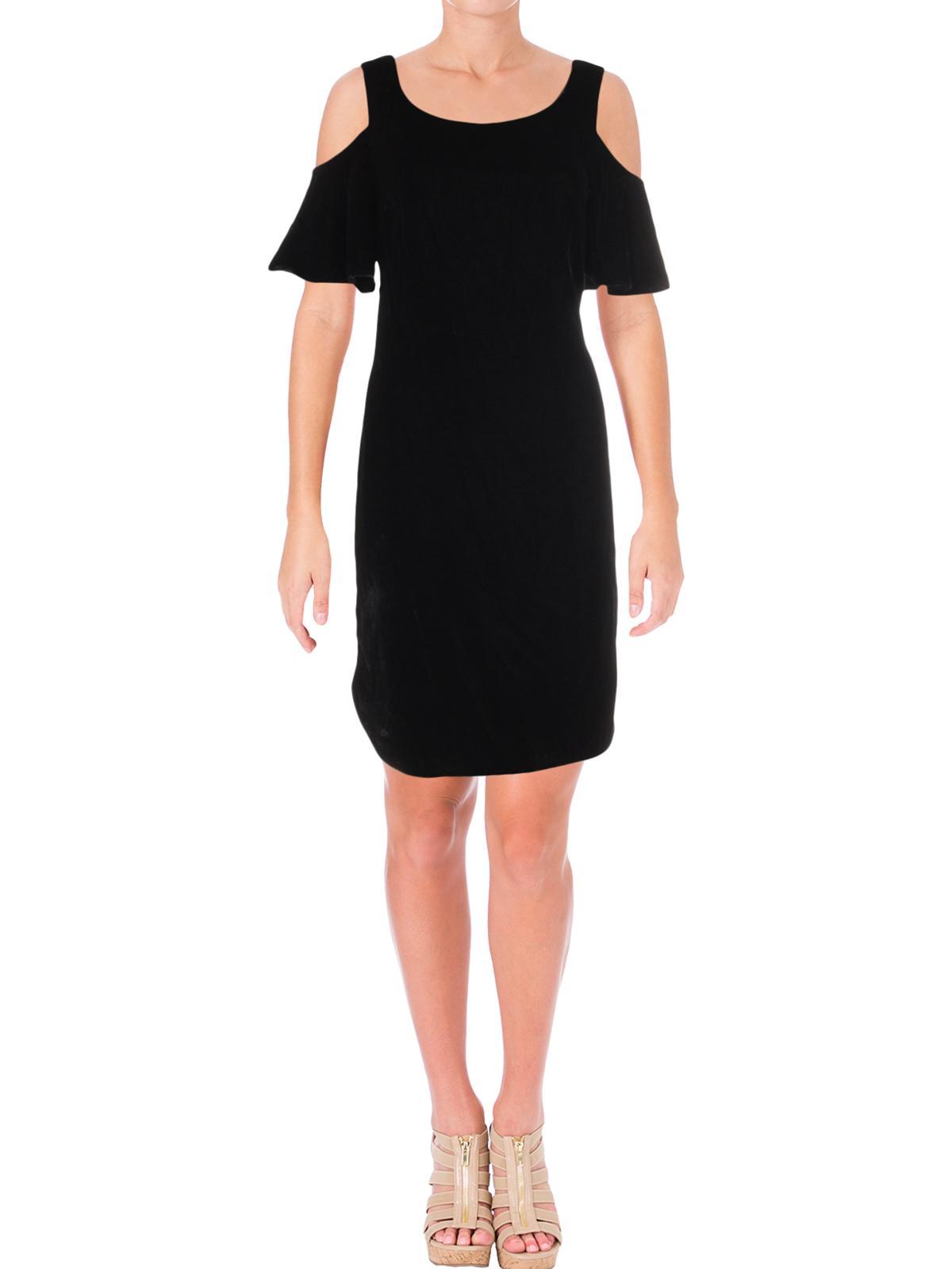 RALPH LAUREN Womens Black Cold Shoulder Ruffled Short Sleeve Scoop Neck Above The Knee Shift Evening Dress  Size: 12