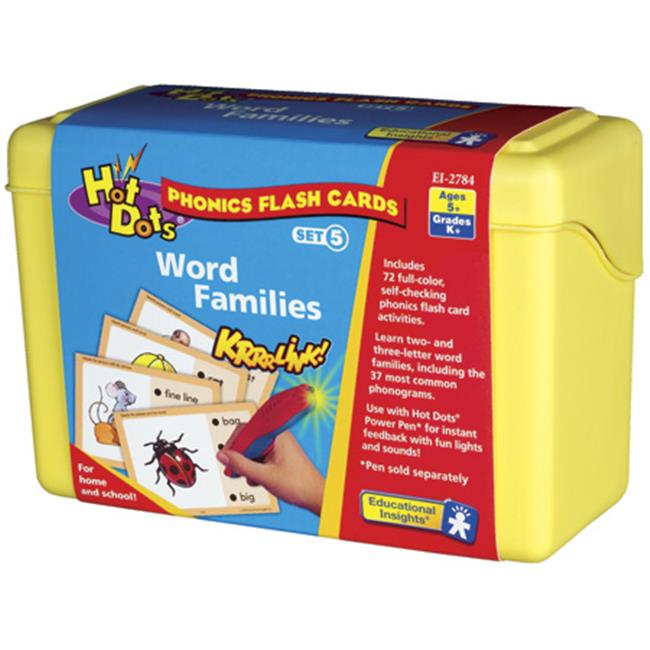 Educational Insights 2784 Hot Dots Phonics Flash Cards - Word Families