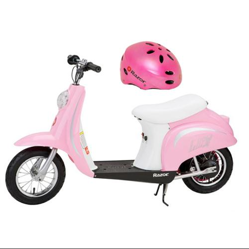 Razor Pocket Mod Bella 24V Electric Girl Scooter & Youth Helmet (Pink)