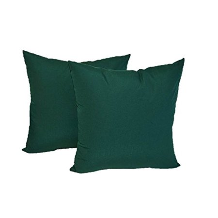 Set of 2 - Indoor / Outdoor Square Decorative Throw / Toss Pillows - Solid Hunter / Forest Green - Choose Size (17