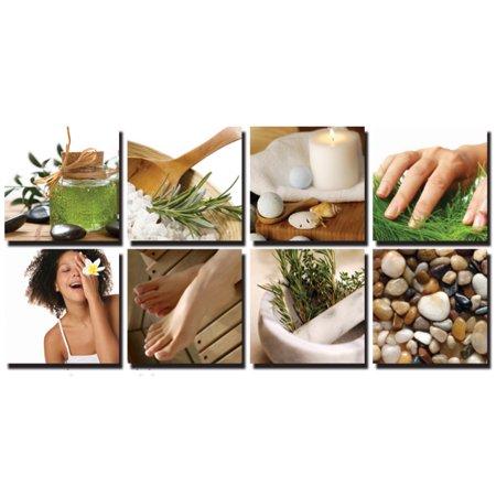 NATURAL 8 Pc Beauty Salon Spa Massage Decal Decoration 24 x 24 Canvas Mural CM-NE2 - Salon Decorations