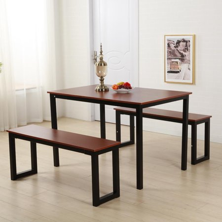 Ktaxon Modern Dining Set Table with Two Benches/3 piece set for Dining Room ()