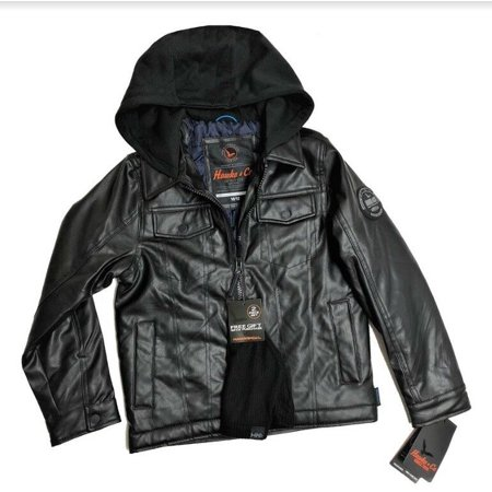 Hawke & Co. Outfitter Boys' Black Faux Leather Hooded Jacket w/ Beanie Hat (18 / 20)