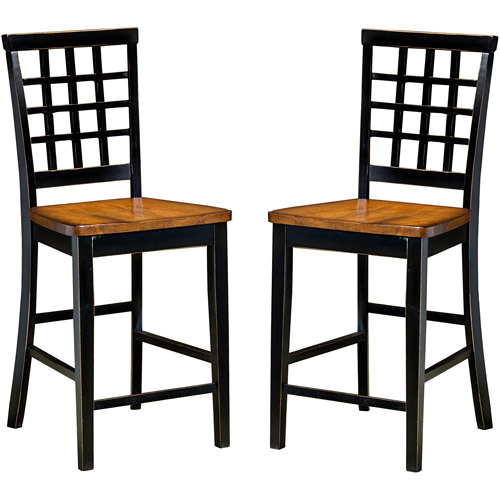 "Imagio Home Arlington  Lattice Back Counter Stools 24"", Set of 2, Black and Java"