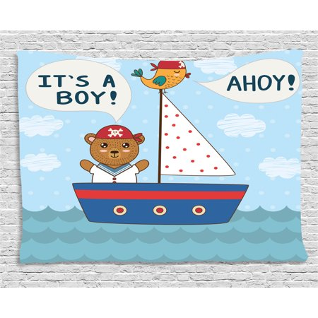 Ahoy Its a Boy Tapestry, Cute Baby Shower Theme It's a Boy in Nautical Style Bear and Bird in Boat, Wall Hanging for Bedroom Living Room Dorm Decor, 80W X 60L Inches, Multicolor, by Ambesonne (Ahoy Its A Boy Baby Shower Theme)