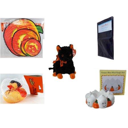Halloween Fun Gift Bundle [5 Piece] - Classic Pumpkin Cutouts Set of 9 - Black Plastic Table Cover  - Ty Beanie Baby
