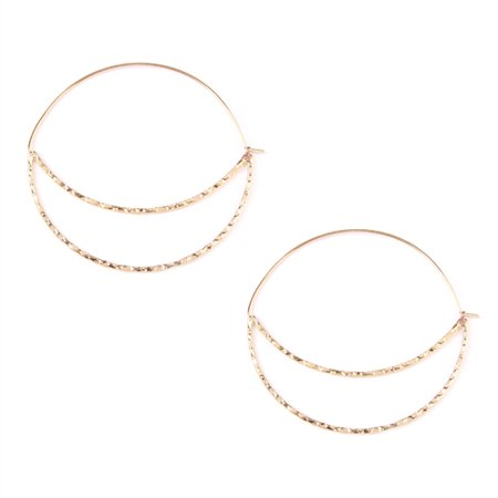 Crescent Moon Metallic Hoop Earrings - Lightweight Hoop Cutout Profile Threader (Crescent Moon Earrings)