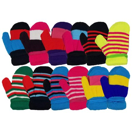 - 12 Pairs Winter Magic Gloves for Kids Toddlers, Stretchy Warm Bulk Pack Boys Girls Children (12 Pairs Mittens)