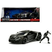 """Lykan Hypersport Black with Black Panther Diecast Figure Marvel"""" Series 1/24 Diecast Model Car by Jada"""""""