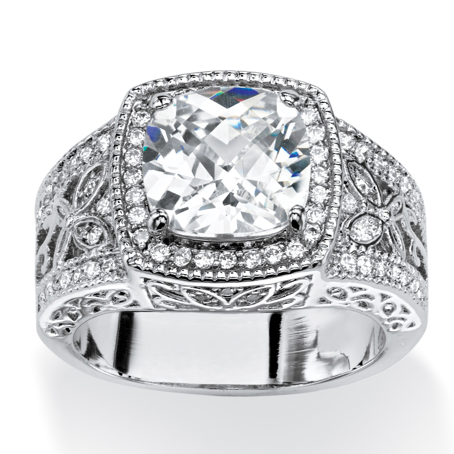 3.27 TCW Cushion-Cut Cubic Zirconia Halo Ring with Butterfly and Cubic Zirconia Accents.