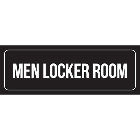 Duke Locker Room - Black Background With White Font Men Locker Room Outdoor & Indoor Office Plastic Wall Sign, 3x9 Inch