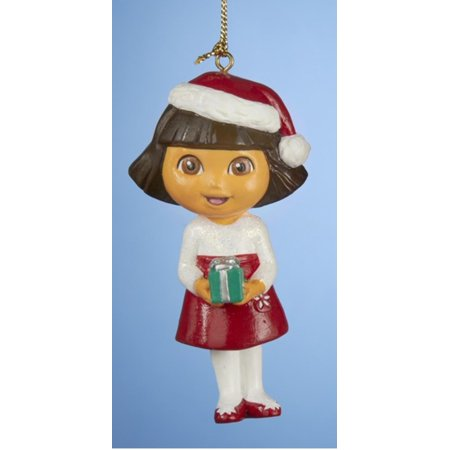 "3.75"" Dora the Explorer Holiday Party Dressed Christmas Ornament"