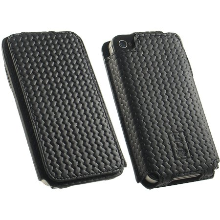 NEW LIMITED LUXURY BLACK GENUINE COWHIDE LEATHER FLIP CASE FOR APPLE iPHONE 4S 4