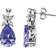 Ss Cz Purple Pear Earrings