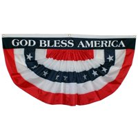 Pleated Fan Flag - USA Bunting, Large 3 ft by 6 ft, God Bless America Patriotic Banner for Memorial Day, 4th of July, Veteran's Day, Elections