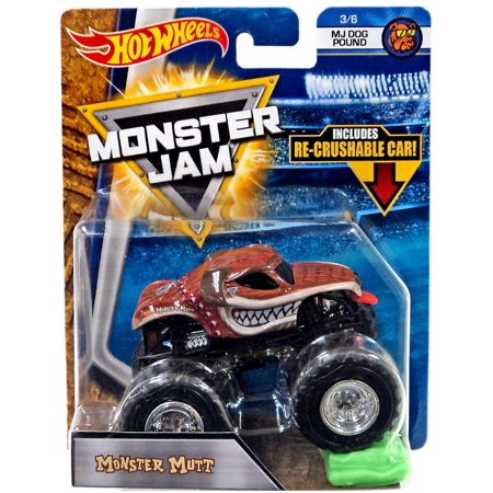 Monster Truck Dog >> Hot Wheels Monster Jam Monster Mutt Die Cast Car Mj Dog Pound Re Crushable Car