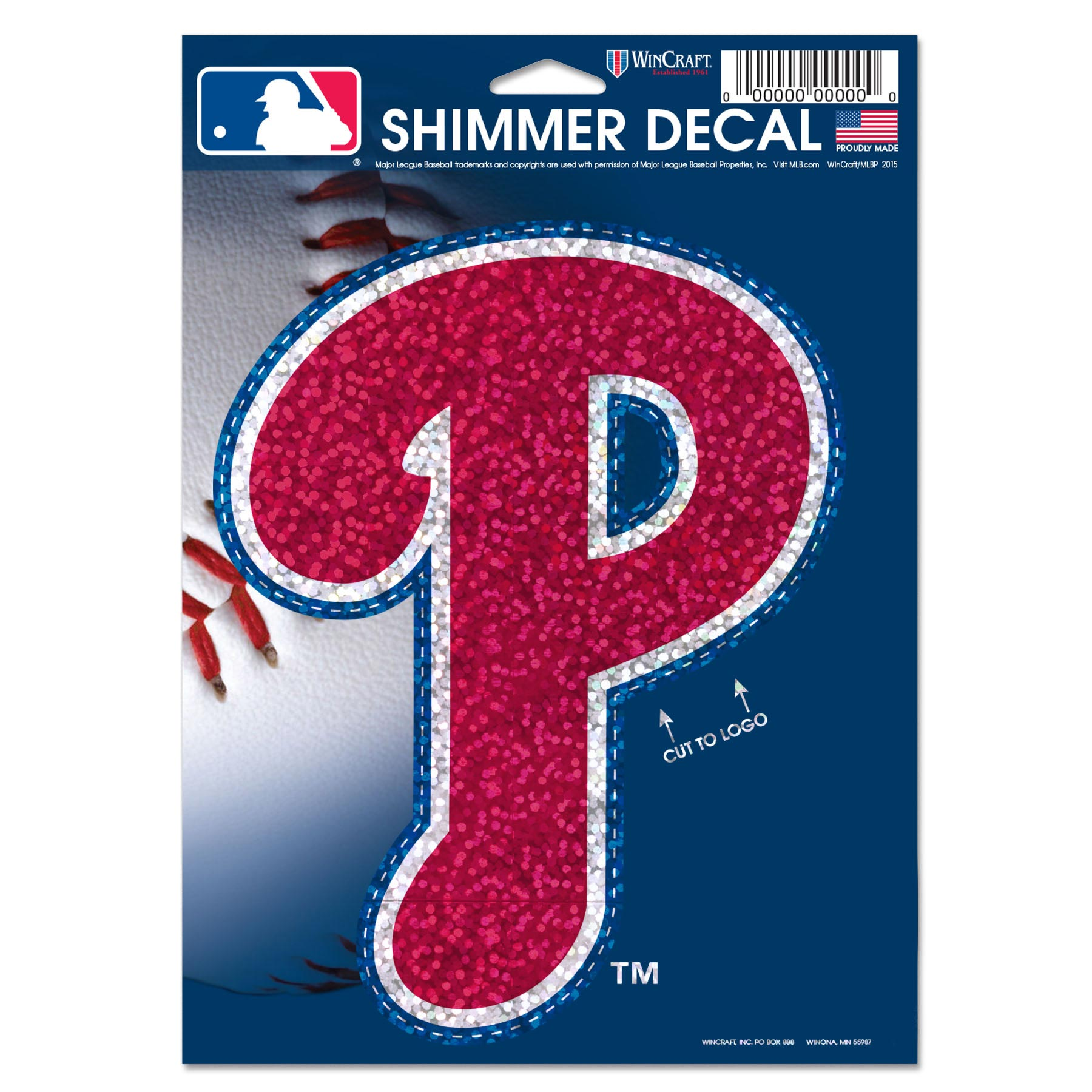 """Philadelphia Phillies WinCraft 5"""" x 7"""" Shimmer Decal - No Size"""