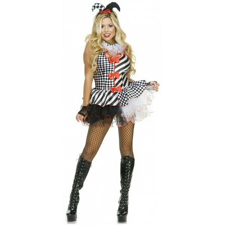Black And White Harlequin Costume (Black and White Jester Adult Costume -)