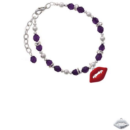Silvertone Red Enamel Vampire Lips Purple Beaded Bracelet