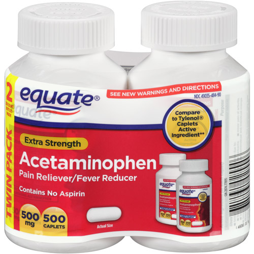 Equate Extra-Strength Acetaminophen Pain Reliever/Fever Reducer, 500mg, 250 count (Pack of 2)